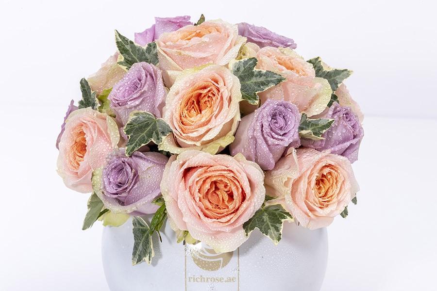 ZAGREB- Enchanting Peach & Purple Roses in Vase