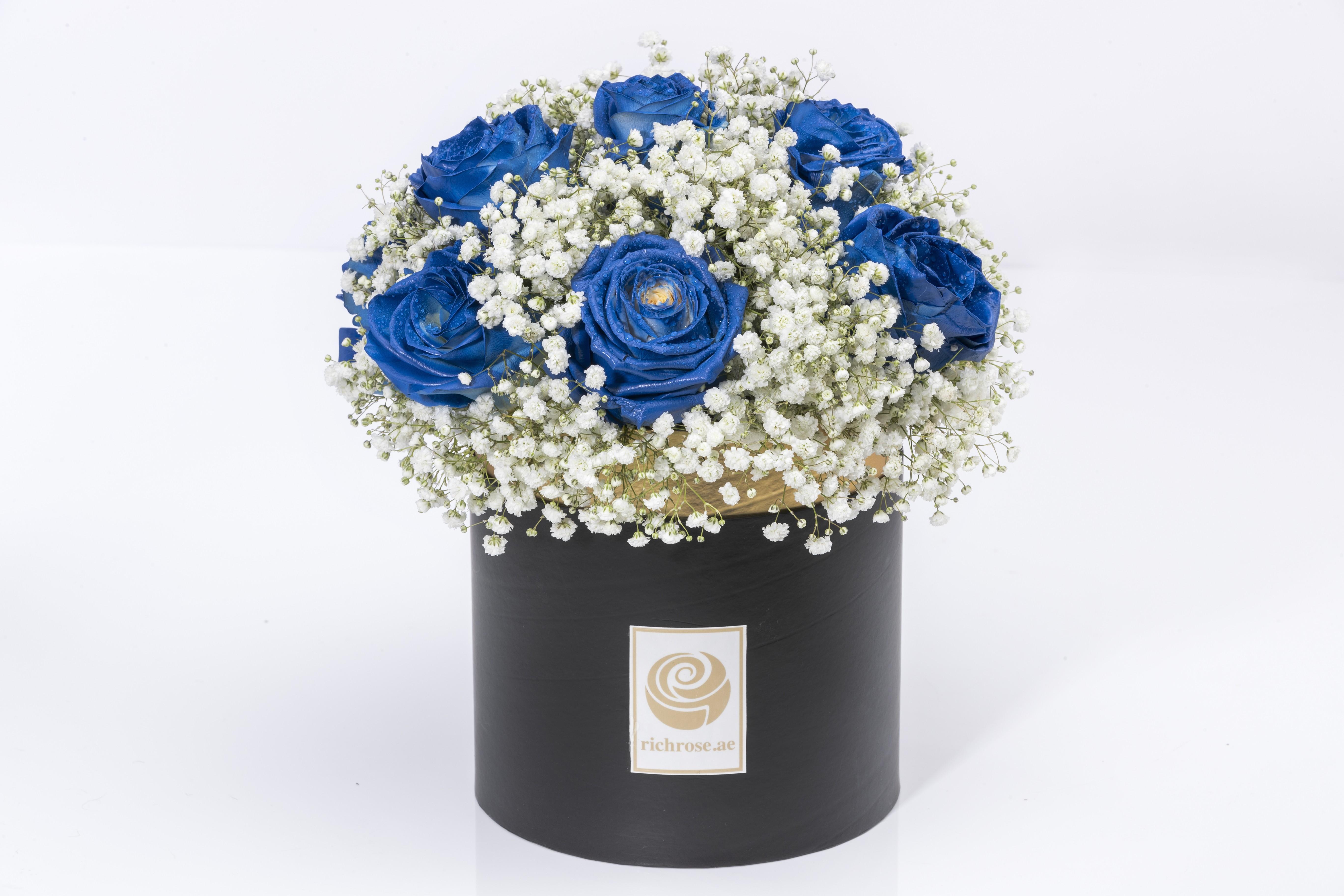 KAMPALA- Luxury Gypsofilla and Blue Roses Box