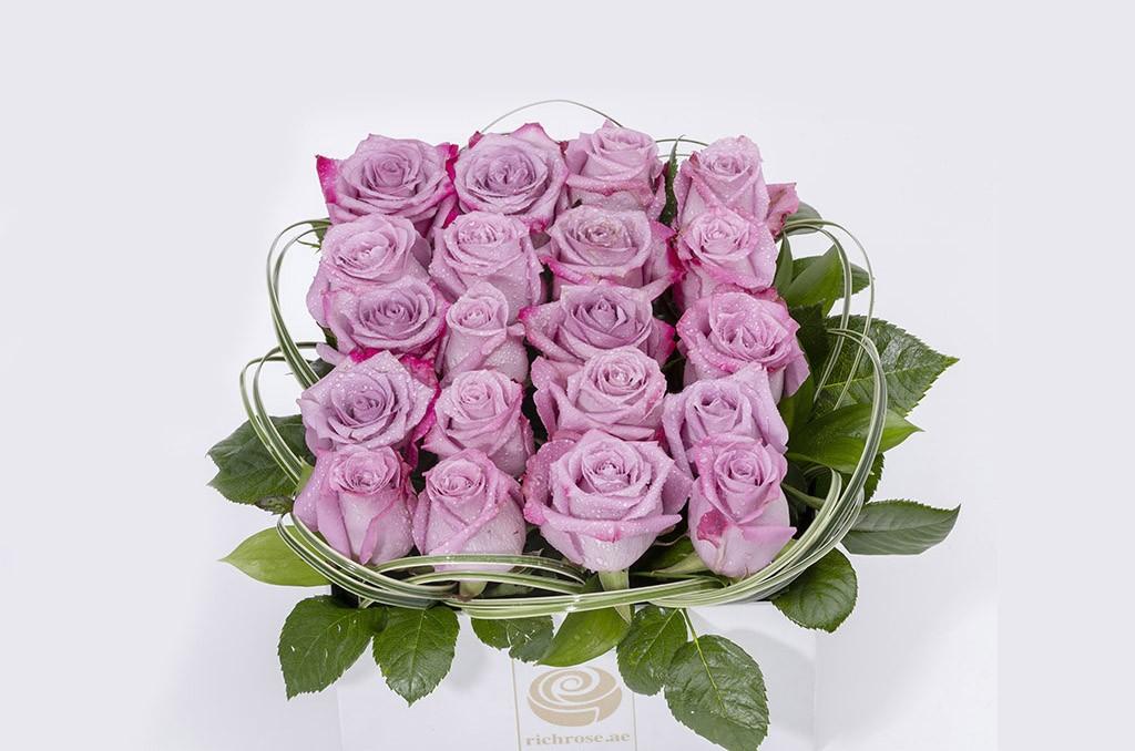 AMMAN- Purple Roses Box Arrangement