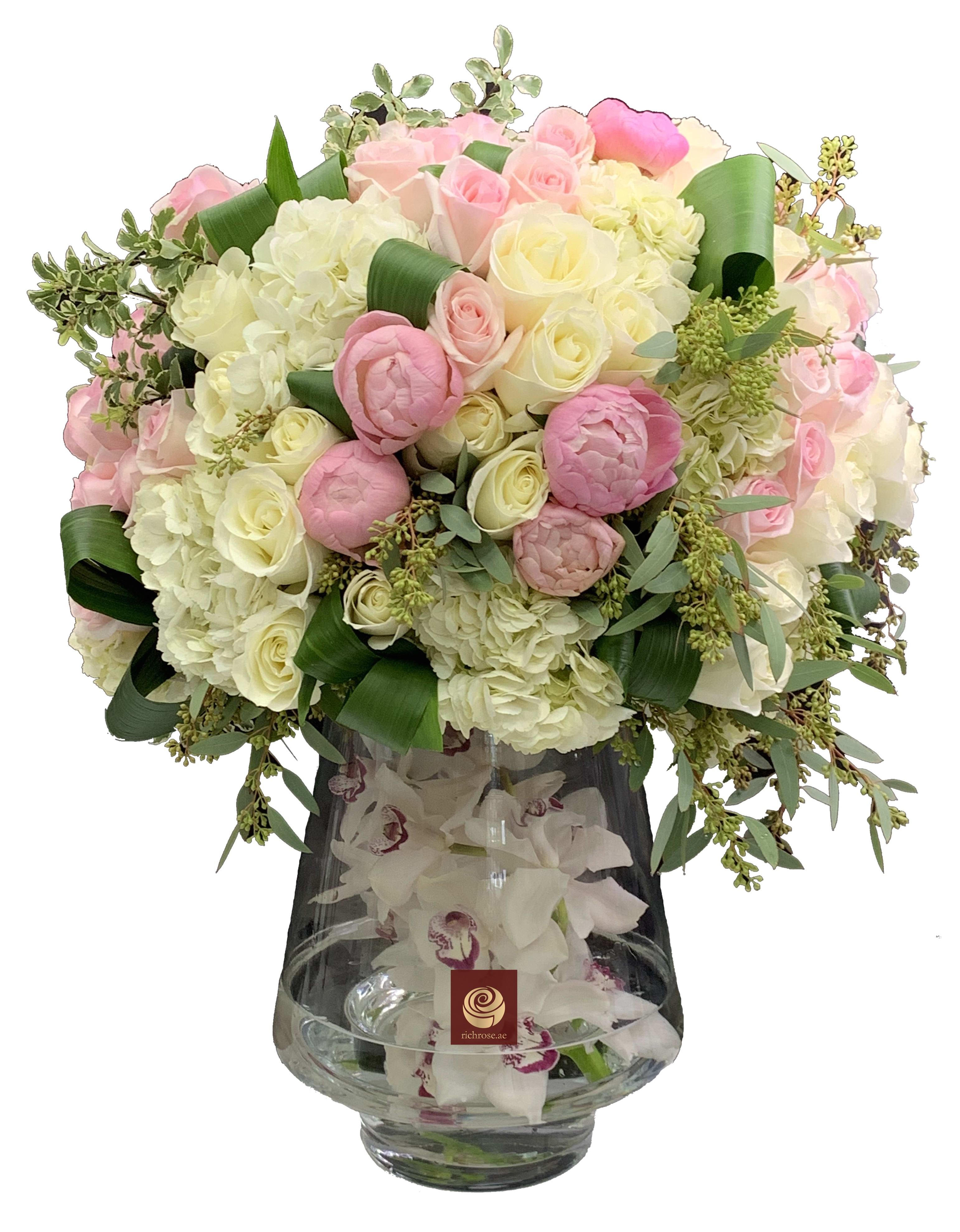 VANESSA - Exotic Purple and White Flower Arrangement