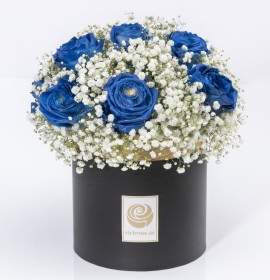 KAMPALA- Luxury Gypsofilla and Blue Roses Box