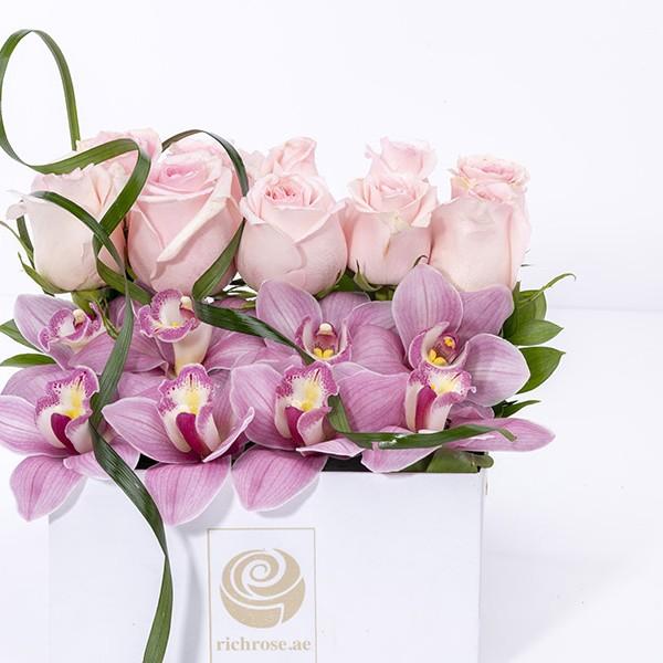 TALLINN- Purple Cymbidium and Pink Roses Box