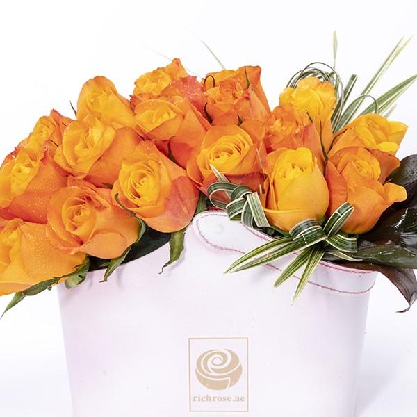 HELSINKI- Flaming Yellow Roses Box