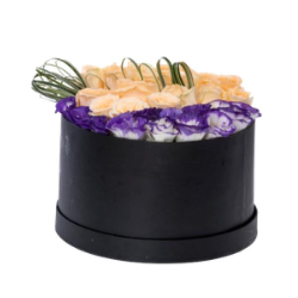 Palikir - Peach Roses and Eustoma Round Box Arrangement
